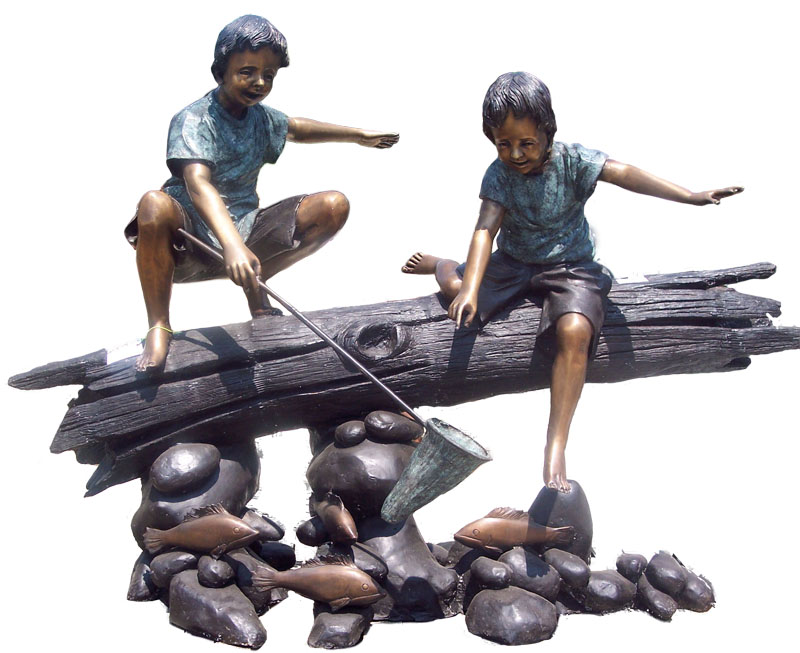 Bronze Kids on a Log