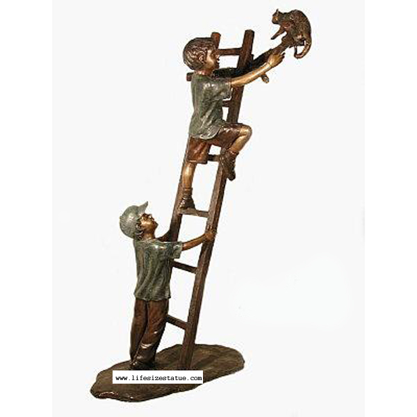 Bronze Kids ( two Boys ) climbing a Ladder to rescue a Cat