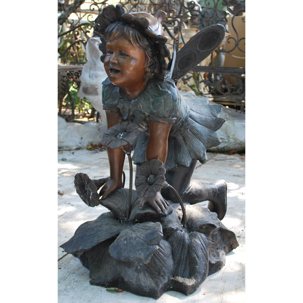 Bronze Fairy with Flower Fountain