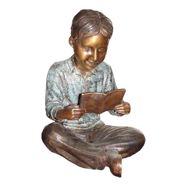 Bronze Boy Reading Book