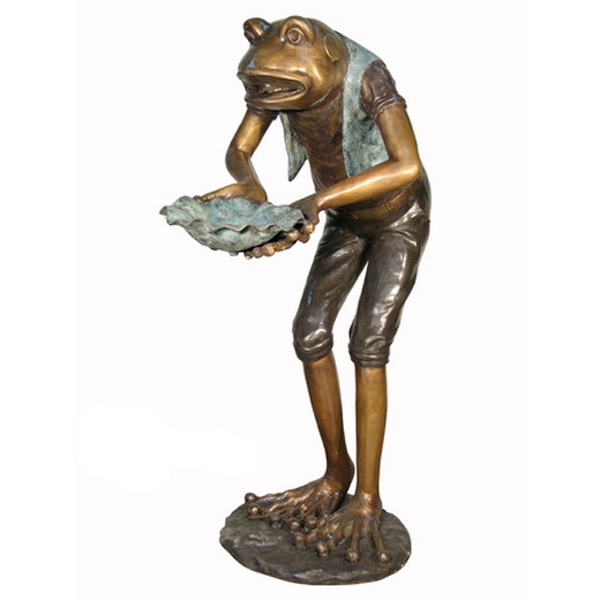 Bronze Frog holding Shell