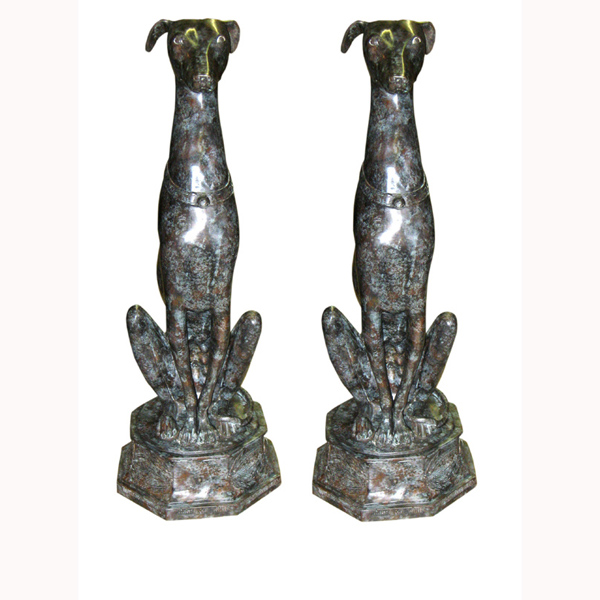 Pair of sitting Bronze Greyhound dogs