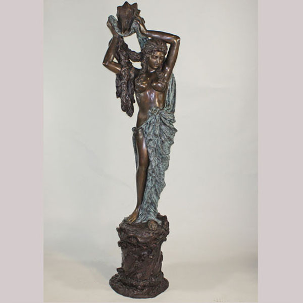 Tall Bronze Lady with Shell Fountain