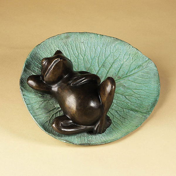 Bronze Sleeping Frog on Lily Pad Fountain