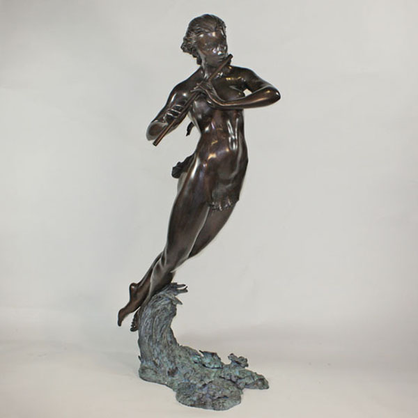 Bronze Girl on Water Playing the Flute Fountain