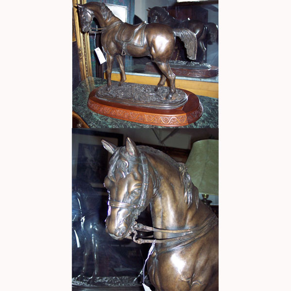 Bronze Horse with Saddle on oval Wood Base