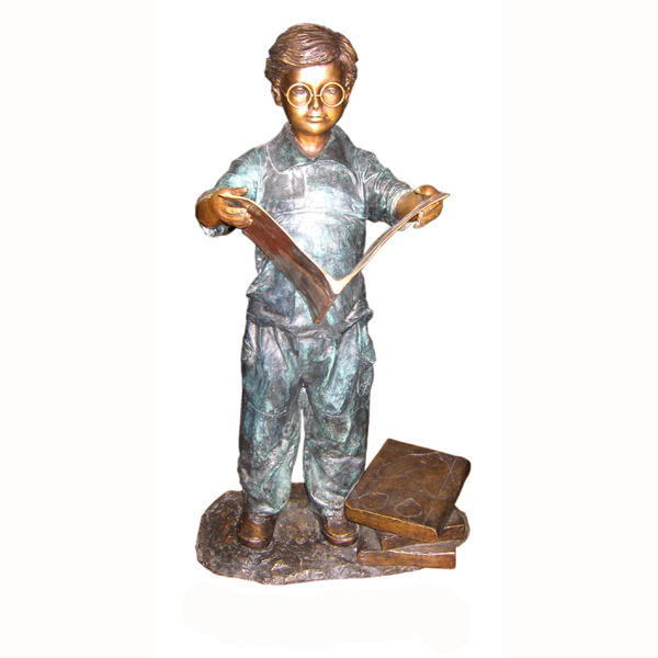 Bronze Boy Reading a Book