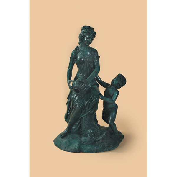 Bronze Fountain Lady with Child