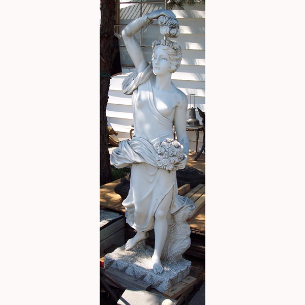 Marble Sculpture of Woman with Roses 6ft.