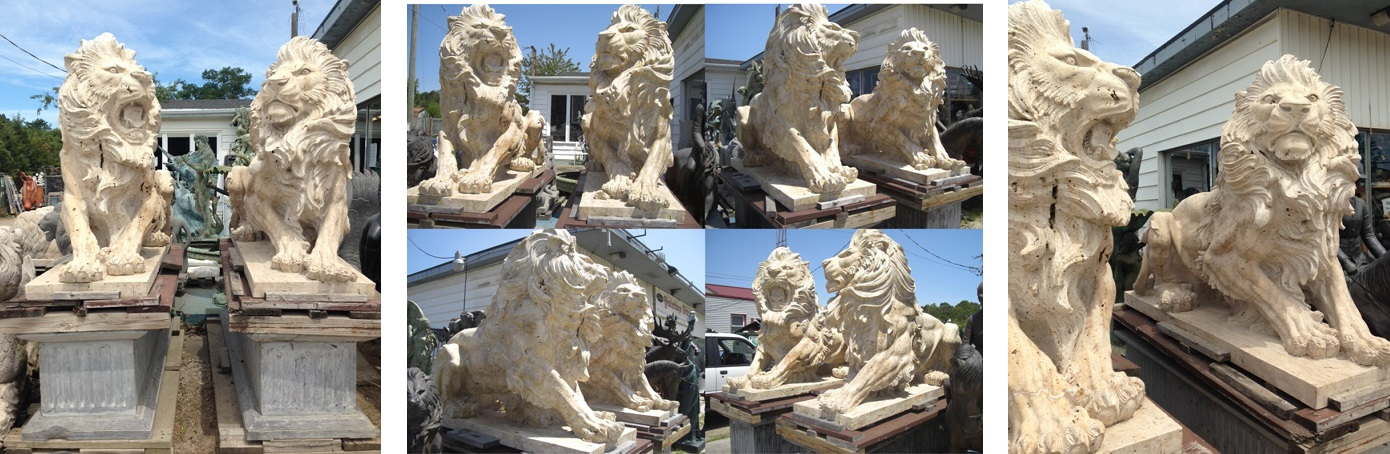 Pair Travertine Marble Lions with pedestals