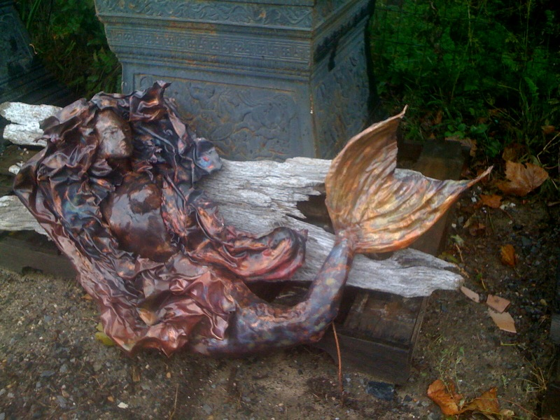 Copper Mermaid on Driftwood