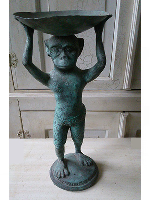 Monkey With Bowl Statue
