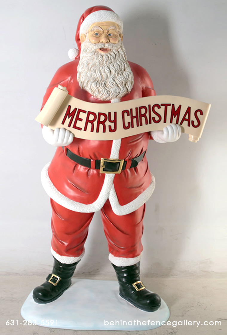 Santa with Christmas Banner 5 ft.