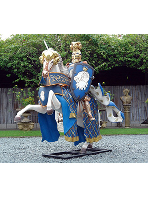 Blue Knight on Horse 8.5 ft.