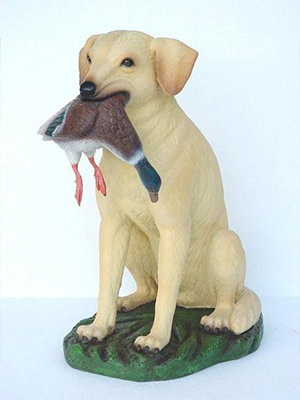 Yellow Lab Hunting Dog with Duck in Mouth