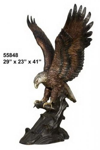 Bronze Eagle Catching Fish Statue