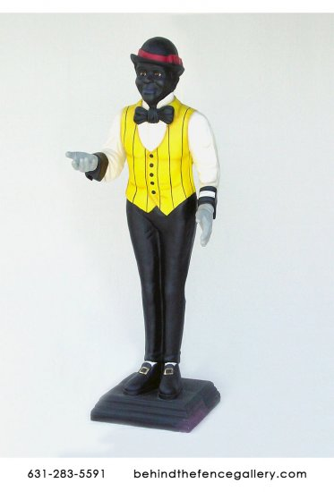 Black Male Butler Statue - Click Image to Close