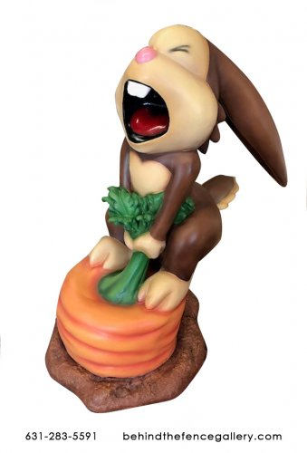 Cartoon Rabbit on Carrot Statue