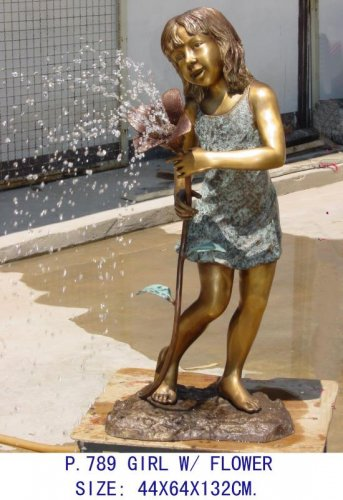 Girl with Flower Fountain