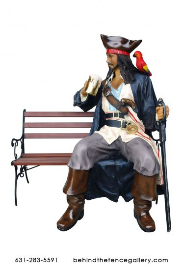 Pirate Sitting Statue on Bench