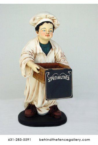 Chef Holding Basket Statue - 3ft.