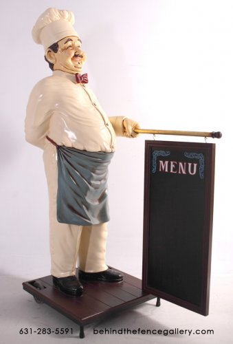 Cook Statue with Menu Board - 5 ft.