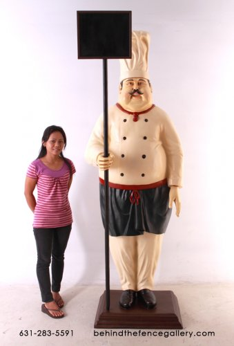 Culinary Chef Statue with Blackboard Sign