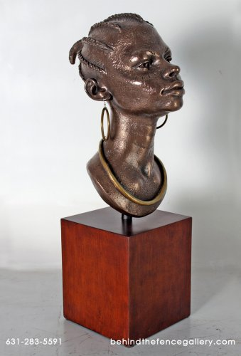 African Head on Square Base Sculpture