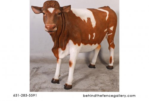 Guernsey Cow Statue Life Size Farm Theme Prop