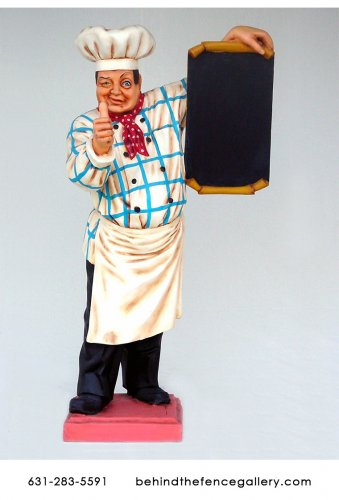 Baker with Menu Statue - 6ft.