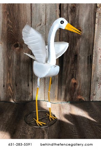 Recycled Metal Egret Statue