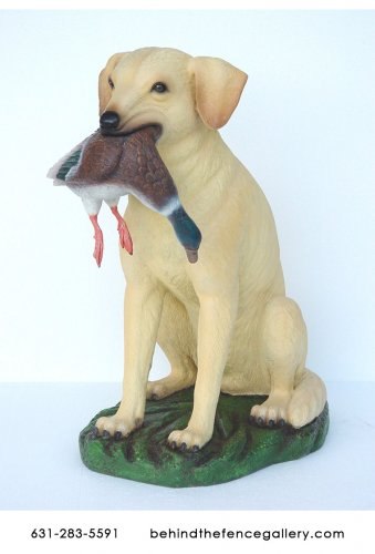 Yellow Labrador Statue with Duck in Mouth