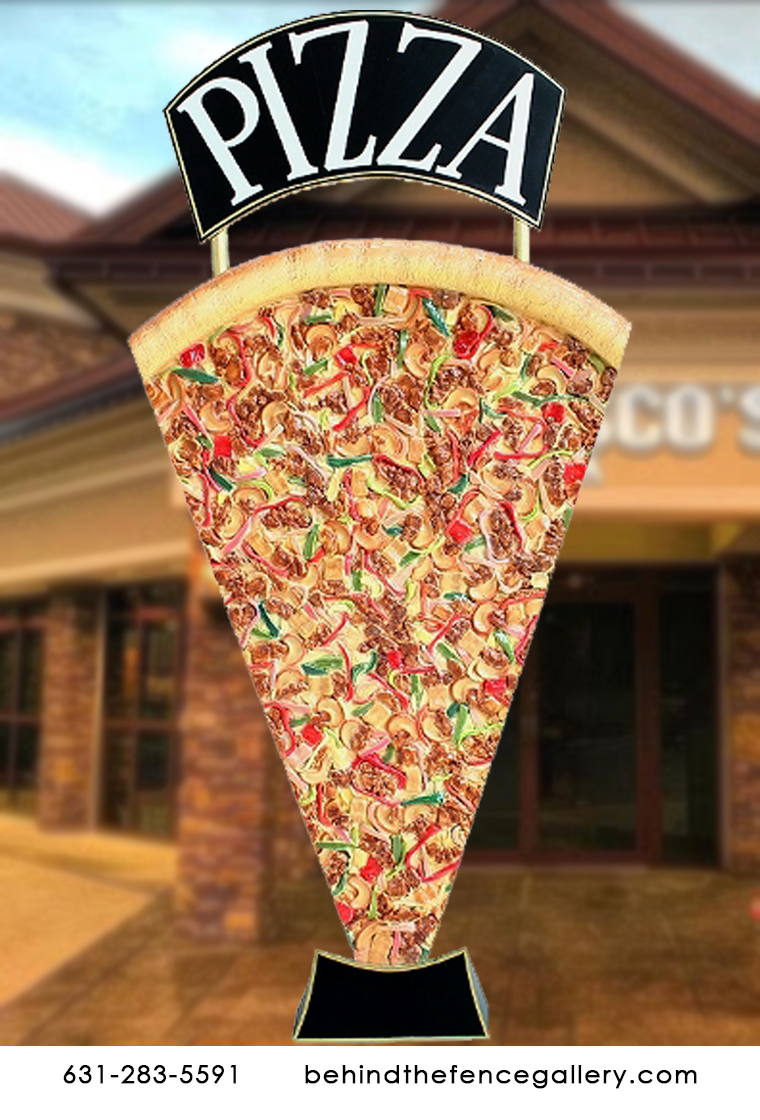 Jumbo Pizza Slice Advertising Sign Sculpture - Click Image to Close