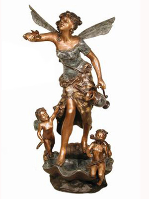 Bronze Angel with Kids Fountain
