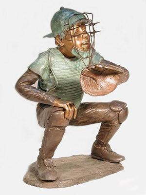 Bronze Kid Baseball Catcher