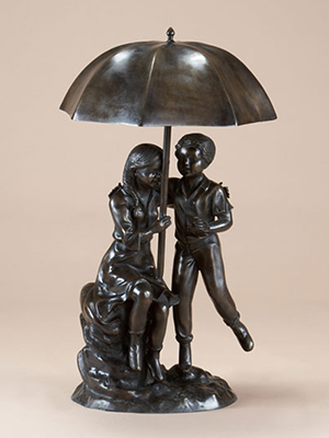 Bronze Boy and Girl under Umbrella Fountain