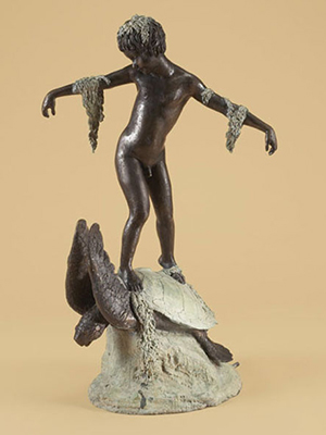 Bronze Boy on Sea Turtle Fountain