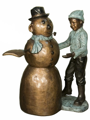 Bronze Boy Playing with a Snowman