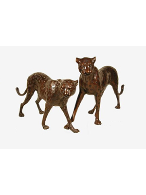 Bronze Cheetah Head Up/Down (Pair)