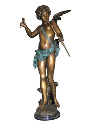 Bronze Cupid Holding a Rose