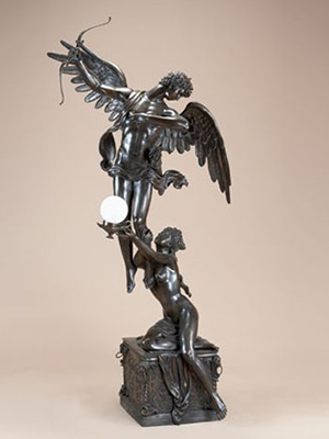Bronze Cupid and Psyche holding Lamp