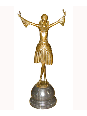 Bronze Deco Girl with Arms Up