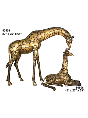 Bronze Giraffe Mother & Child Statues