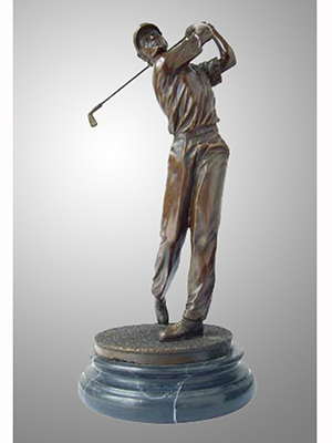 Bronze Golfer with Marble Base