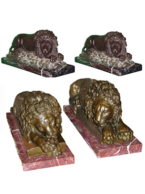 Bronze laying Lions on Marble base