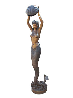 Bronze Mermaid holding Shell Fountain - Click Image to Close
