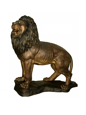 Bronze Standing Lion on Base