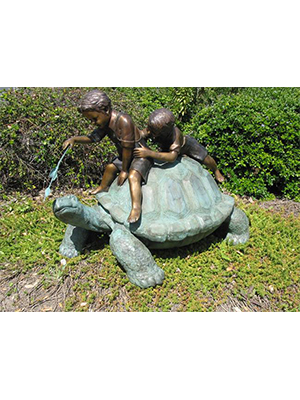 Bronze Turtle with 2 Boys
