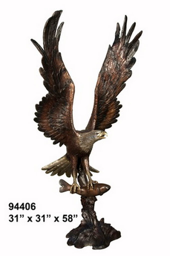 Bronze Eagle Catching Fish
