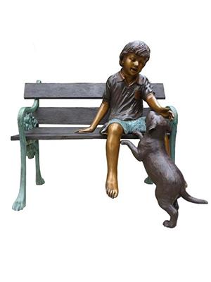 Boy With Dog On Bench Boy With Dog On Bench D 2513k